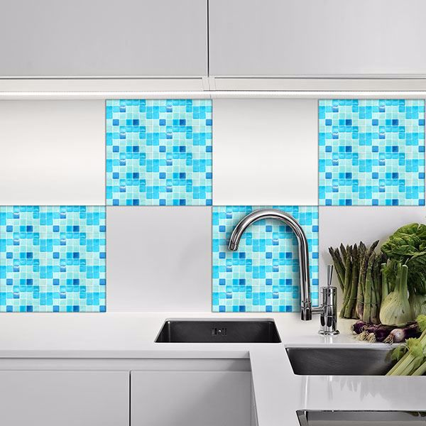 Picture of Mosaic Light Blue Peel and Stick Tiles