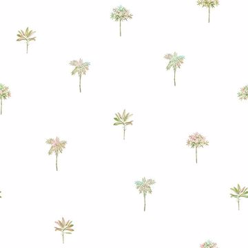 Picture of Palmetto Pink Leaves Wallpaper