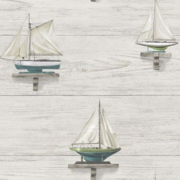 Picture of Set Sail White Wood Wallpaper