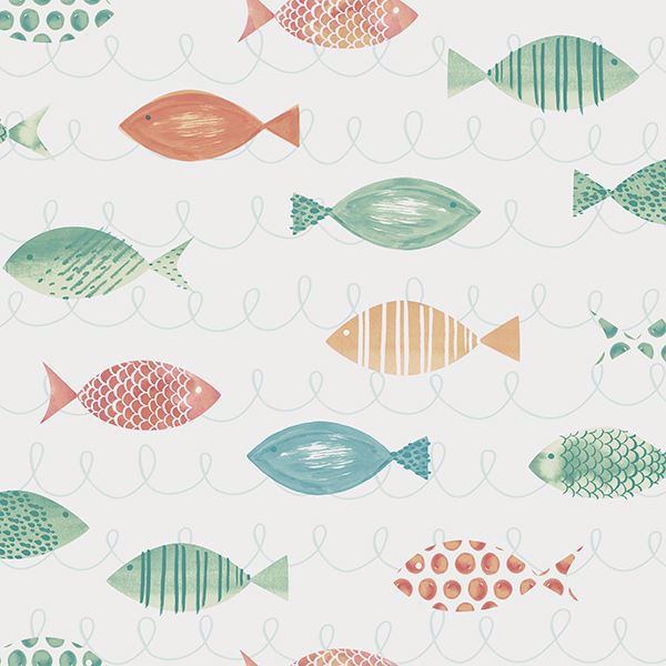 Picture of Key West Aqua Fish Wallpaper