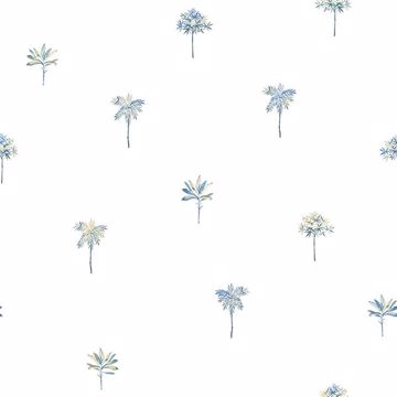 Picture of Palmetto Blue Leaves Wallpaper