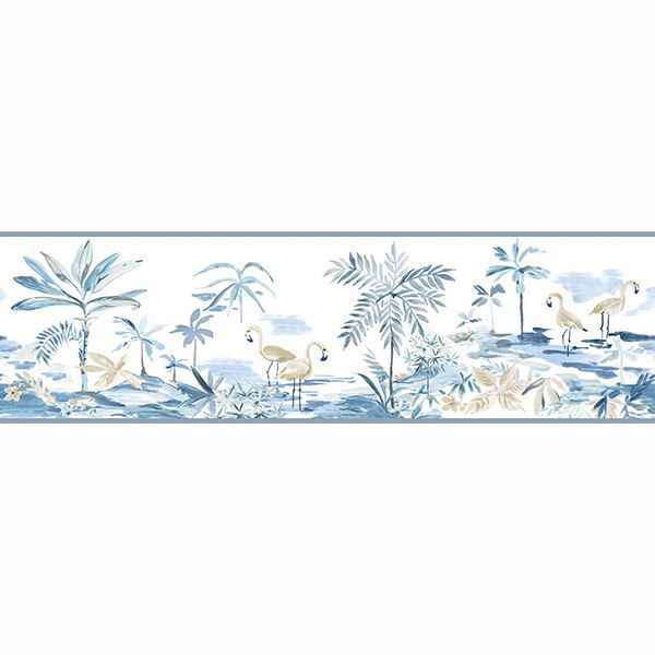 Picture of Lagoon Blue Watercolor Border