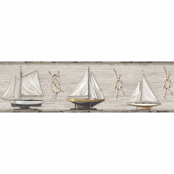 Picture of Set Sail Beige Wood Border