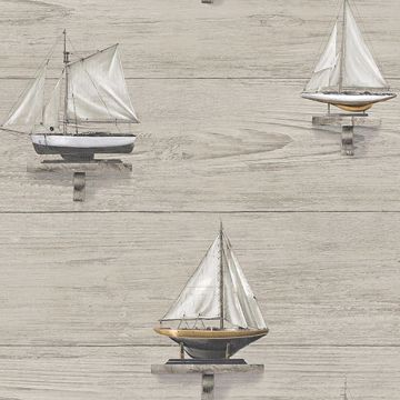 Picture of Set Sail Grey Wood Wallpaper