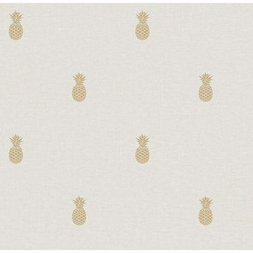 Picture of Southern Charm Beige Pineapple Wallpaper