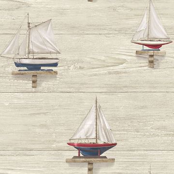 Picture of Set Sail Beige Wood Wallpaper