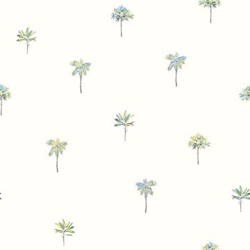 Picture of Palmetto Teal Leaves Wallpaper
