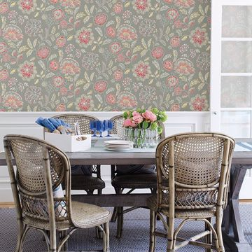 Picture of Tropez Coral Jacobean Wallpaper