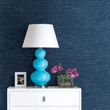 Picture of Exhale Denim Faux Grasscloth Wallpaper