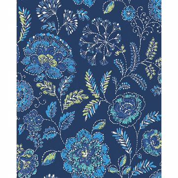 Picture of Tropez Navy Jacobean Wallpaper