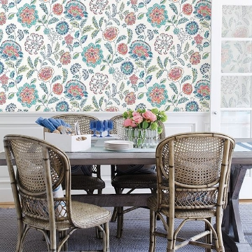 Picture of Tropez Teal Jacobean Wallpaper