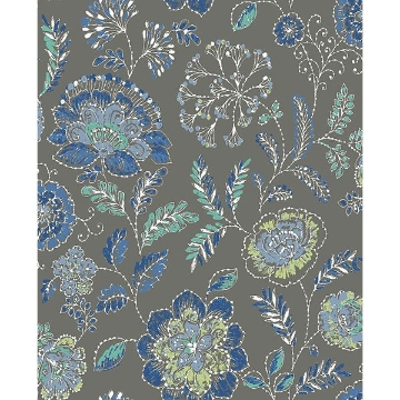 Picture of Tropez Charcoal Jacobean Wallpaper