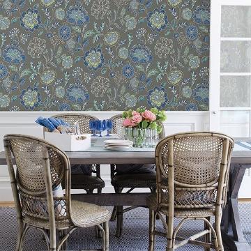 Picture of Tropez Charcoal Jacobean Wallpaper