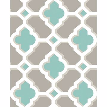 Picture of Lido Turquoise Quatrefoil Wallpaper