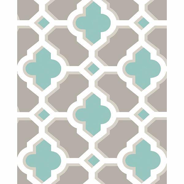 Picture of Lido Turquoise Quatrefoil Wallpaper