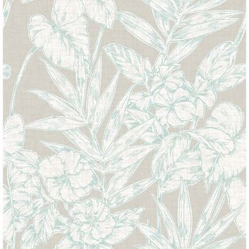 Picture of Fiji Turquoise Floral Wallpaper
