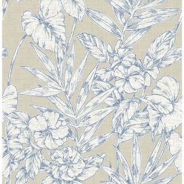Picture of Fiji Navy Floral Wallpaper