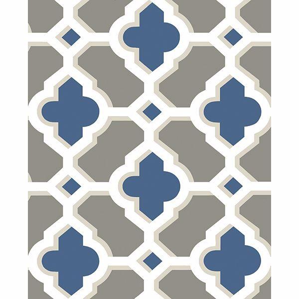 Picture of Lido Navy Quatrefoil Wallpaper