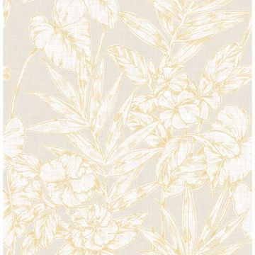 Picture of Fiji Mustard Floral Wallpaper
