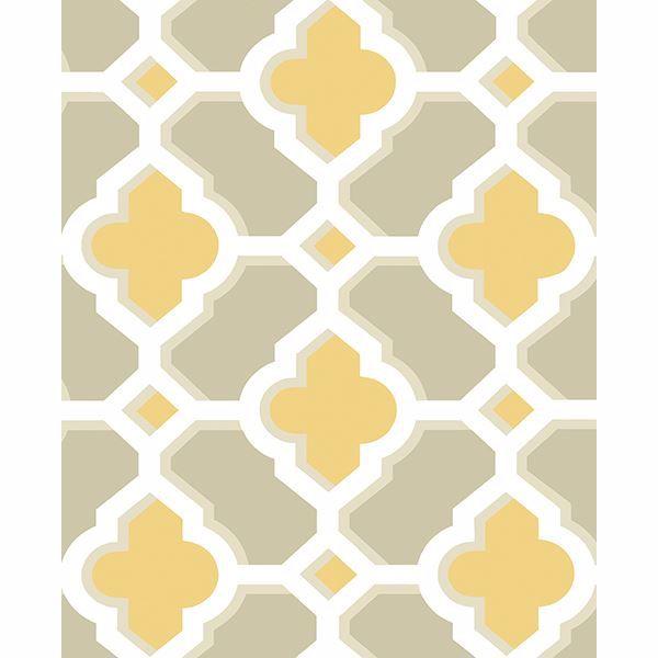 Picture of Lido Mustard Quatrefoil Wallpaper