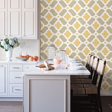 Picture of Lido Mustard Quatrefoil Wallpaper