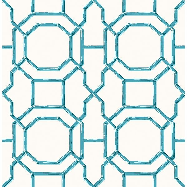 Picture of Summer Teal Trellis Wallpaper