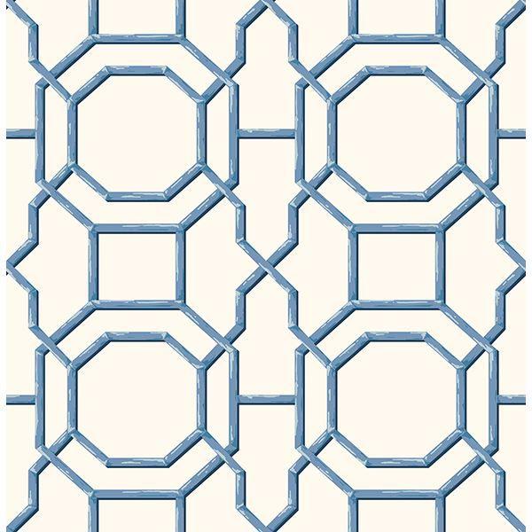 Picture of Summer Blue Trellis Wallpaper