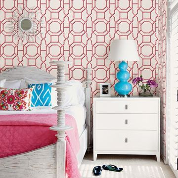 Picture of Summer Coral Trellis Wallpaper