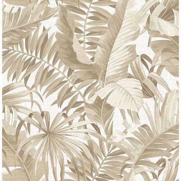 Picture of Alfresco Taupe Palm Leaf Wallpaper