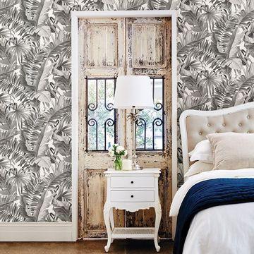 Picture of Alfresco Black Palm Leaf Wallpaper