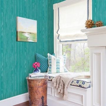 Picture of Illusion Aqua Faux Wood Wallpaper