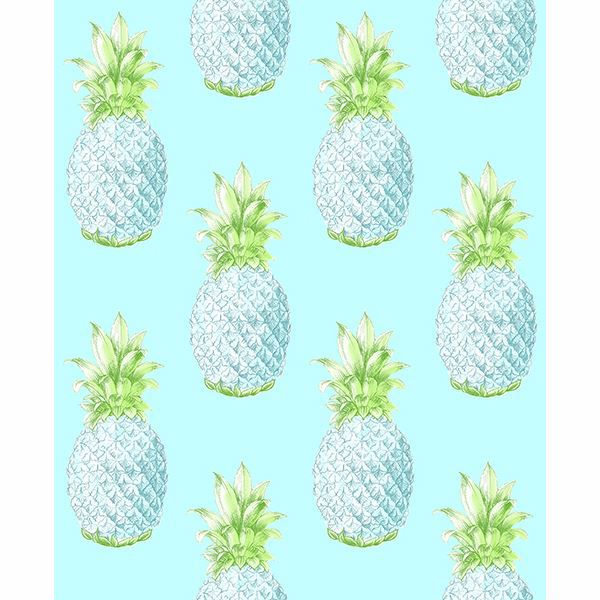 Picture of Copacabana Turquoise Pineapple Wallpaper