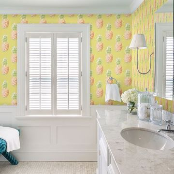Picture of Copacabana Yellow Pineapple Wallpaper