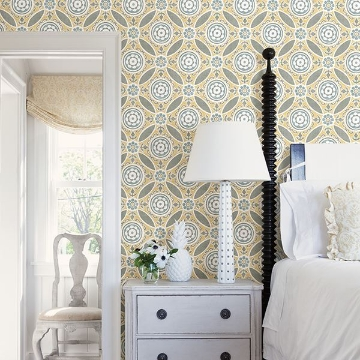 Picture of Maya Yellow Medallion Wallpaper