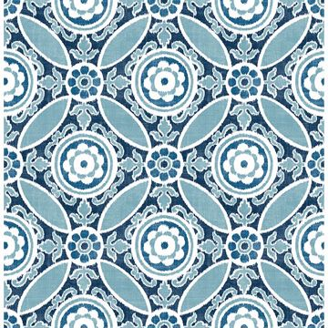 Picture of Maya Blue Medallion Wallpaper