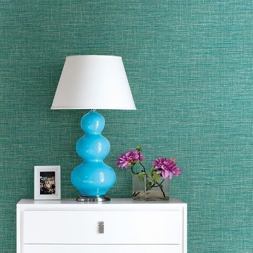 Picture of Exhale Teal Faux Grasscloth Wallpaper