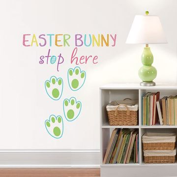 Picture of Easter Bunny Stop Here  Wall Quote Decals