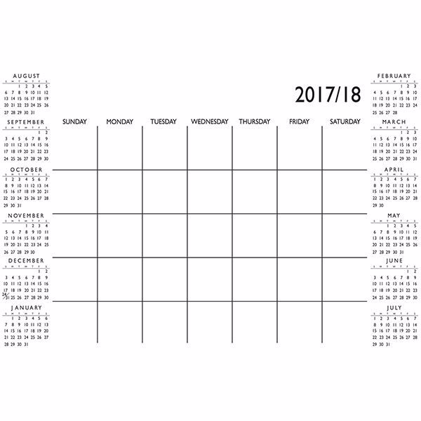 Picture of White Academic 2017-18 Dry Erase Calendar Decal