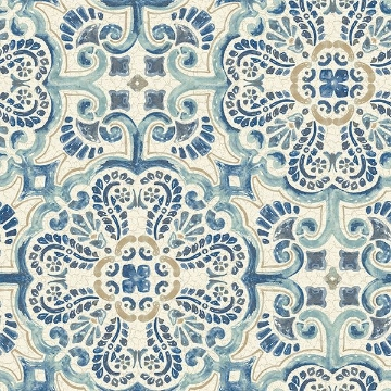 Picture of Blue Florentine Tile Peel And Stick Wallpaper