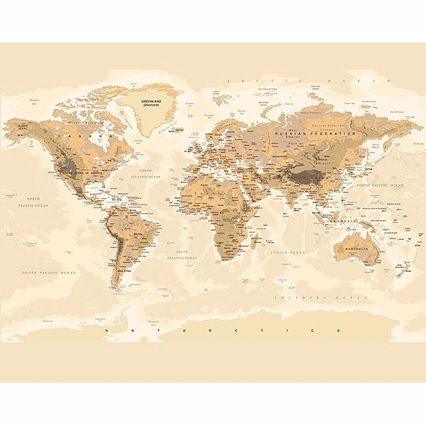 Picture of Sepia World Wall Mural