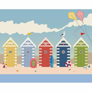 Picture of Beach Huts Wall Mural