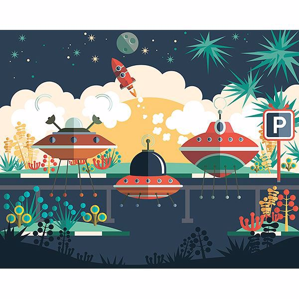 Picture of Spaceship Carpark Wall Mural
