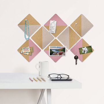 Picture of Pink and Taupe Square Cork Organizer Shapes Organization Kit