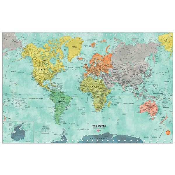 Picture of Aquarelle World Dry Erase Map