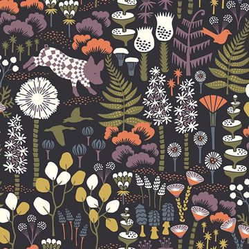 Picture of Hoppet Black and Folk Wallpaper