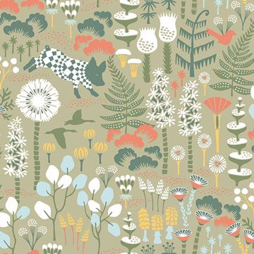 Picture of Hoppet Green Folk Wallpaper