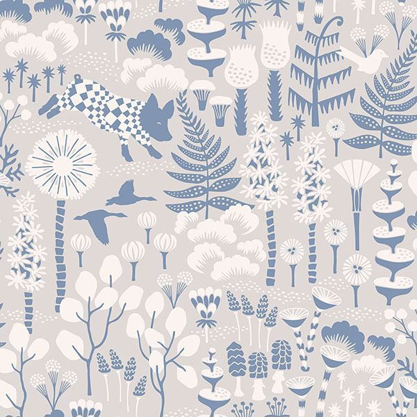 Picture of Hoppet Grey Folk Wallpaper