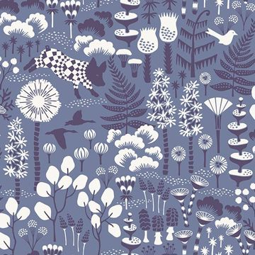 Picture of Hoppet Blue Folk Wallpaper