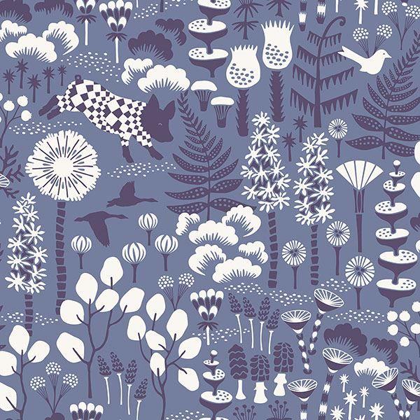 Picture of Hoppet Blue Folk Wallpaper