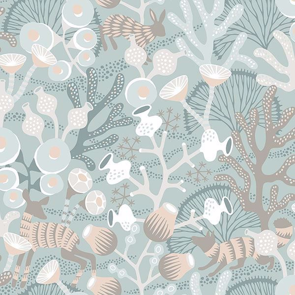 Picture of Korall Teal Meadow Wallpaper